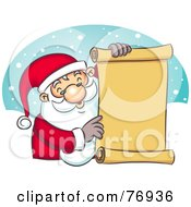 Royalty Free RF Clipart Illustration Of St Nick Holding A Scrolled Naughty Or Nice List by Qiun