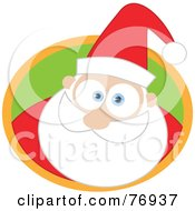Royalty Free RF Clipart Illustration Of A Big Eyed Santa In A Green And Orange Circle by Qiun