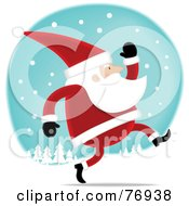 Royalty Free RF Clipart Illustration Of Kris Kringle Jogging Through The Snow
