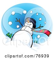 Royalty Free RF Clipart Illustration Of A Low Angle View Of A Snowman In The Snow