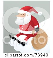 Royalty Free RF Clipart Illustration Of St Nick Sitting On The Ledge Of A Snow Covered Roof