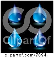 Royalty Free RF Clipart Illustration Of A Digital Collage Of Four Glowing Blue Water Drops On Black