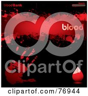 Royalty Free RF Clipart Illustration Of A Blood Bank Website Template With A Hand Print Droplet And Search Box