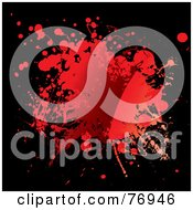 Royalty Free RF Clipart Illustration Of A Messy Blood Splat On Black by michaeltravers