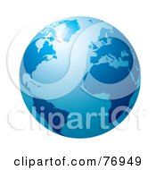 Royalty Free RF Clipart Illustration Of A Blue Globe With Light Shining Off Of The Top by michaeltravers