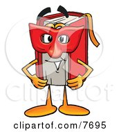Clipart Picture Of A Red Book Mascot Cartoon Character Wearing A Red Mask Over His Face by Toons4Biz