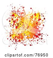 Messy Orange Yellow And Red Ink Splatter On White by michaeltravers