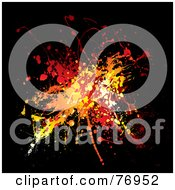 Royalty Free RF Clipart Illustration Of A Messy Orange Yellow And Red Ink Splatter On Black by michaeltravers