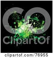 Messy Green In Splatter On Black by michaeltravers