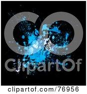 Messy Blue In Splatter On Black by michaeltravers
