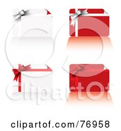 Royalty Free RF Clipart Illustration Of A Digital Collage Of Four Gift Cards With Ribbons And Bows