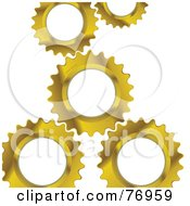 Royalty Free RF Clipart Illustration Of A Background Of Golden Gear Cogs Over White