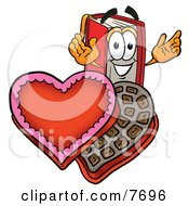 Clipart Picture Of A Red Book Mascot Cartoon Character With An Open Box Of Valentines Day Chocolate Candies by Toons4Biz