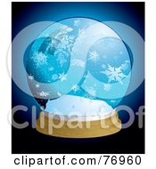 Royalty Free RF Clipart Illustration Of A Snow Globe With Large Icy Snowflakes Over Blue by michaeltravers