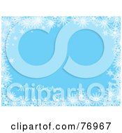 Royalty Free RF Clipart Illustration Of A Merry Christmas Blue Background Bordered In White Snowflakes by michaeltravers