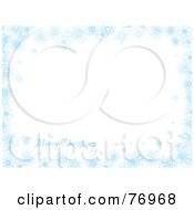 Royalty Free RF Clipart Illustration Of A Merry Christmas White Background Bordered In Blue Snowflakes by michaeltravers