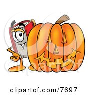 Clipart Picture Of A Red Book Mascot Cartoon Character With A Carved Halloween Pumpkin