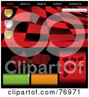Royalty Free RF Clipart Illustration Of A Wavy Red Racing Flag Website Template