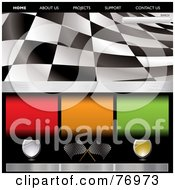 Royalty Free RF Clipart Illustration Of A Wavy Black And White Racing Flag Website Template by michaeltravers