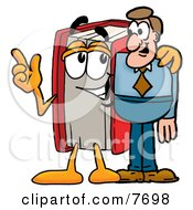 Clipart Picture Of A Red Book Mascot Cartoon Character Talking To A Business Man