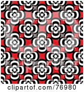 Royalty Free RF Clipart Illustration Of A Seamless Background Of Black And White Retro Flowers On Red
