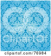 Royalty Free RF Clipart Illustration Of A Seamless Background Of Light And Dark Blue Floral Silk by michaeltravers