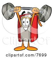 Clipart Picture Of A Red Book Mascot Cartoon Character Holding A Heavy Barbell Above His Head