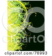 Royalty Free RF Clipart Illustration Of A Border Of Grungy Green And Yellow Plants With White Vines Over Black