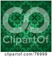 Royalty Free RF Clipart Illustration Of A Seamless Background Of Green Snowflake Or Floral Patterns by michaeltravers