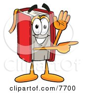 Clipart Picture Of A Red Book Mascot Cartoon Character Waving And Pointing