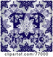 Royalty Free RF Clipart Illustration Of A Silver And Cobalt Snowflake Floral Pattern Background by michaeltravers
