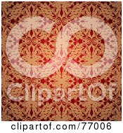 Royalty Free RF Clipart Illustration Of A Seamless Background Of Red And Golden Floral Silk