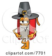 Red Book Mascot Cartoon Character Wearing A Pilgrim Hat On Thanksgiving by Toons4Biz