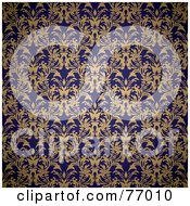 Seamless Background Of A Navy Blue And Beige Royal Floral Wallpaper by michaeltravers