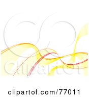 Royalty Free RF Clipart Illustration Of A White Background With Flowing Yellow And Red Waves by michaeltravers