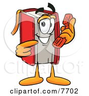 Clipart Picture Of A Red Book Mascot Cartoon Character Holding A Telephone