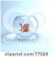 Royalty Free RF Clipart Illustration Of A 3d Lonely Goldfish Character In A Bowl