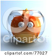 Royalty Free RF Clipart Illustration Of A 3d Sad Fat Goldfish Character In A Small Fish Bowl