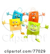 Royalty Free RF Clipart Illustration Of A 3d Group Of Colorful Shopping Bags Holding Their Arms Out