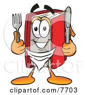 Clipart Picture Of A Red Book Mascot Cartoon Character Holding A Knife And Fork