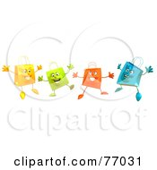 Royalty Free RF Clipart Illustration Of A 3d Group Of Happy Shopping Bags
