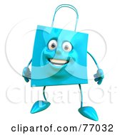 Royalty Free RF Clipart Illustration Of A 3d Friendly Blue Shopping Bag