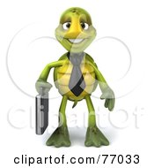 Royalty Free RF Clipart Illustration Of A 3d Green Tortoise Character Corporate Businessman With A Briefcase