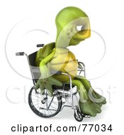 Royalty Free RF Clipart Illustration Of A 3d Sad Green Tortoise Character Pouting In A Wheelchair