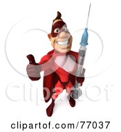 3d Red Super Hero Guy Holding A Swine Flu H1N1 Syringe by Julos