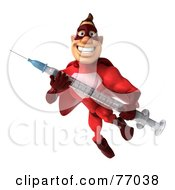 3d Red Super Hero Guy Holding A Swine Flu Syringe by Julos