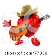 3d Red Heart Character Playing Country Music