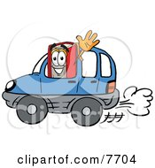 Clipart Picture Of A Red Book Mascot Cartoon Character Driving A Blue Car And Waving