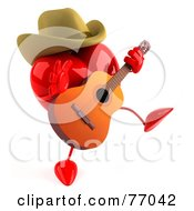 3d Red Heart Character Country Musician