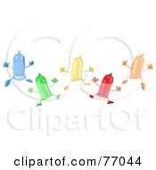 Royalty Free RF Clipart Illustration Of A 3d Group Of Colorful Condom Characters Jumping